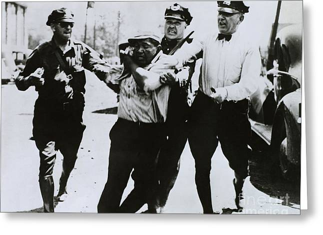 Police Assault A Striker Greeting Card by Photo Researchers