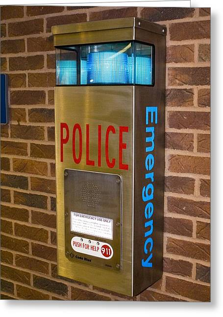 Police Emergency Telephone In Illinois Greeting Card by Mark Williamson