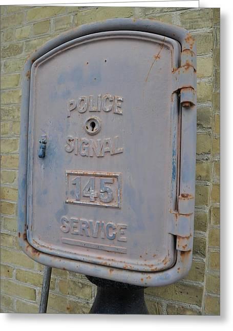 Police Signal Box Greeting Card by Daryl Macintyre