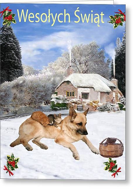 Polish German Shepherd Holiday Greeting Card by Eric Kempson