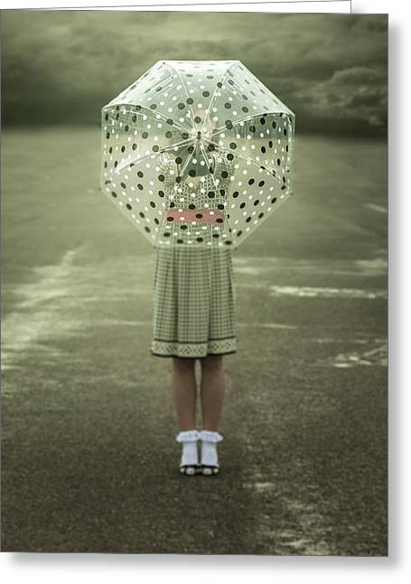 Polka Dotted Umbrella Greeting Card by Joana Kruse