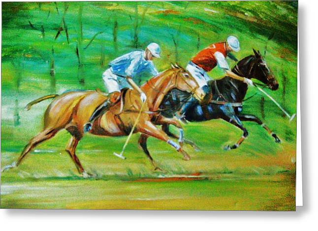 Polo Horses Greeting Card by Unique Consignment