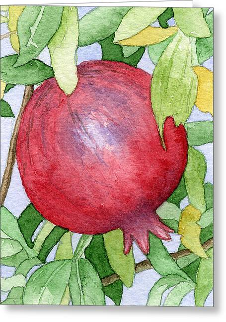 Pomegranate In Tree Greeting Card by Eunice Olson