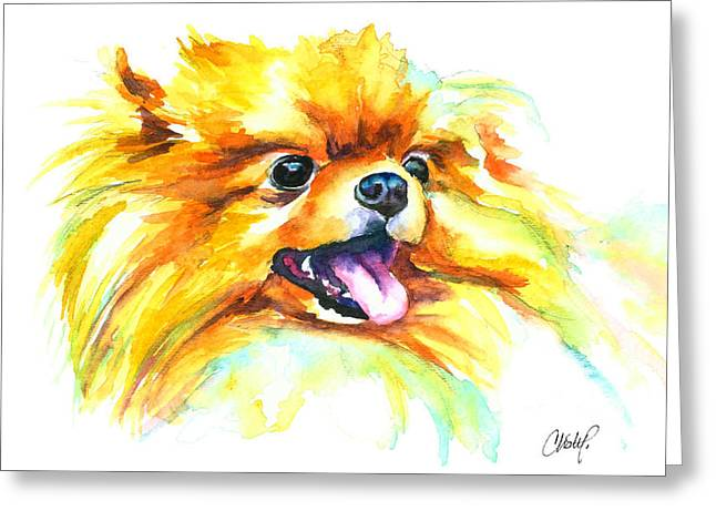 Pomeranian Fire Greeting Card