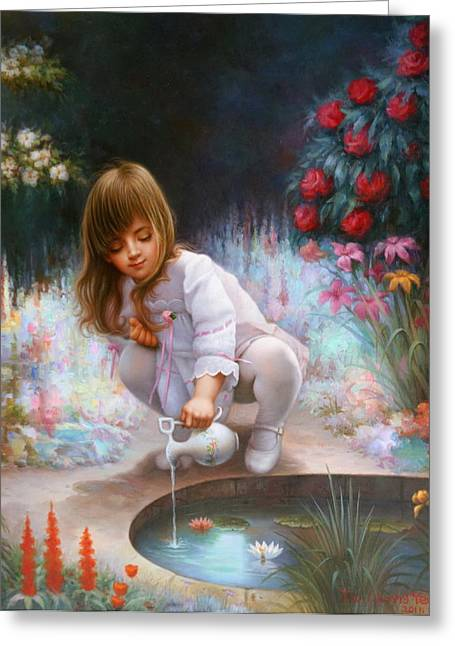 Pond And Girl  Greeting Card by Yoo Choong Yeul