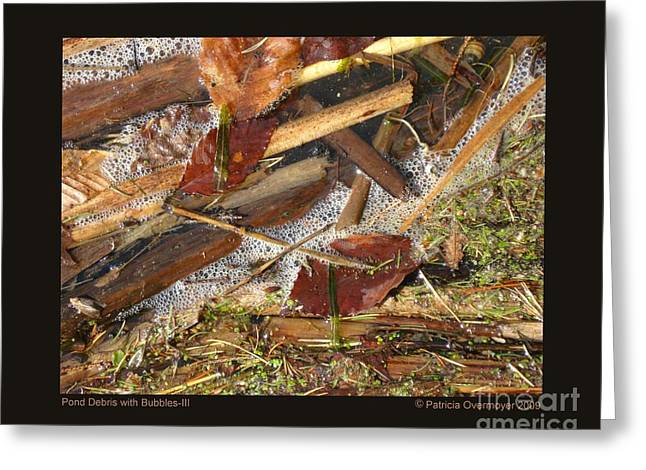 Pond Debris With Bubbles-iii Greeting Card by Patricia Overmoyer