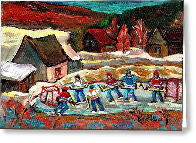 Pond Hockey 3 Greeting Card by Carole Spandau