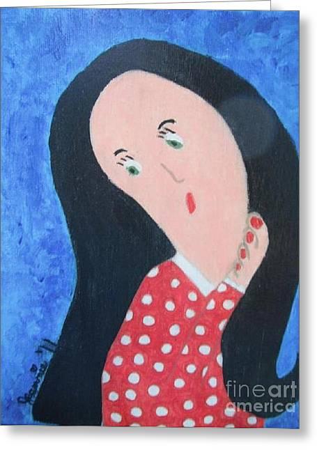 Pondering Black Haired Girl Greeting Card by Jeannie Atwater Jordan Allen