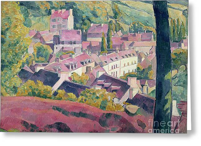 Pont Aven Seen From The Bois D'amour Greeting Card by Emile Bernard
