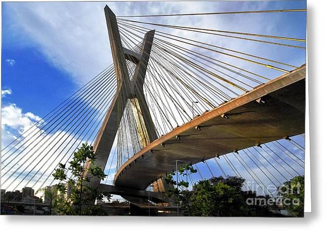 Ponte Estaiada Octavio Frias De Oliveira Ao Cair Da Tarde Greeting Card