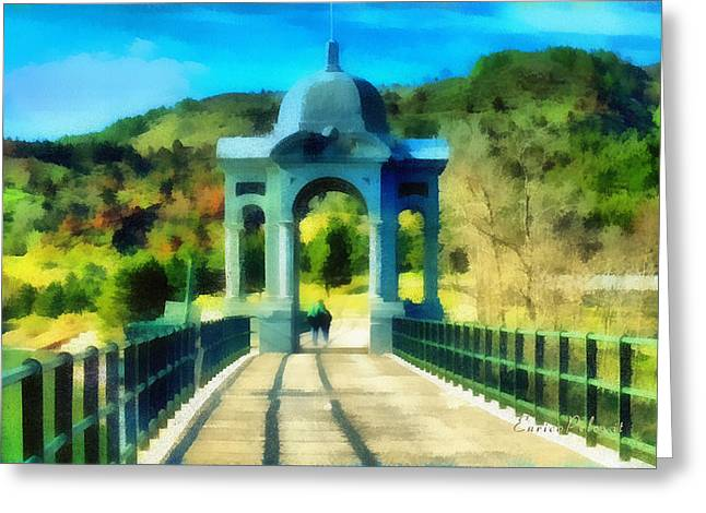 Greeting Card featuring the mixed media Ponte Sul Lago Di Giacopiane by Enrico Pelos