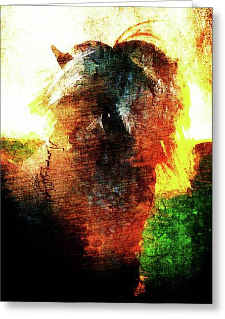 Greeting Card featuring the digital art Pony by Andrea Barbieri