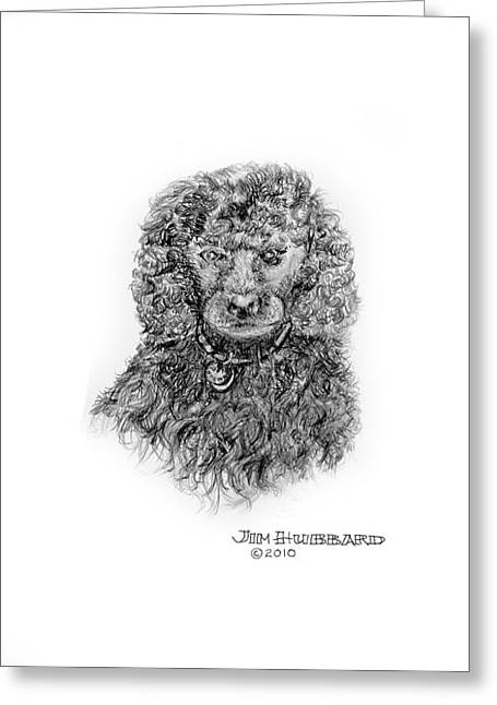 Greeting Card featuring the drawing Poodle by Jim Hubbard