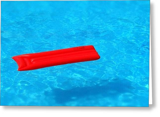 Pool - Blue Water And Red Airbed Greeting Card