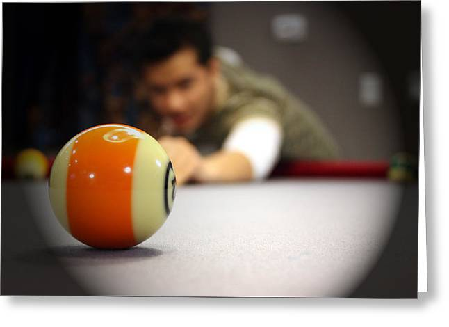 Pool Game Greeting Card by Mark Ashkenazi
