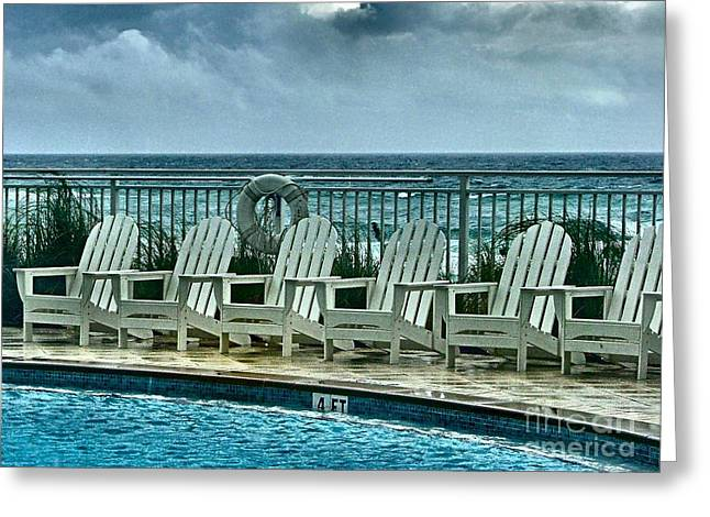 Poolside With A View Greeting Card by Julie Dant