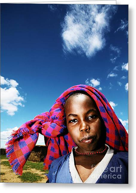 Poor African Child Outdoor Portrait Greeting Card by Anna Om
