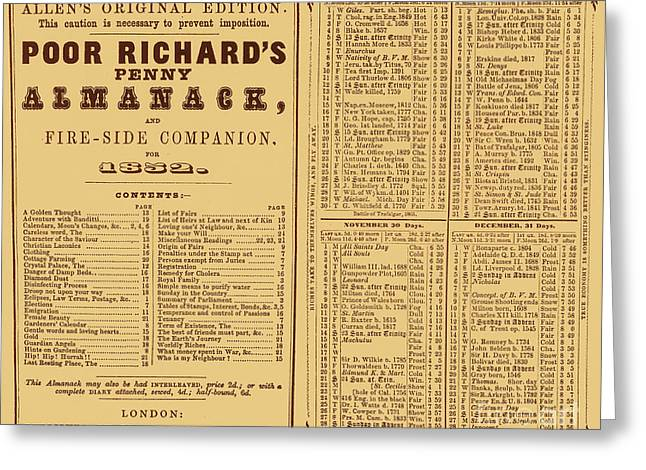Poor Richards Penny Almanack, 1852 Greeting Card by Photo Researchers