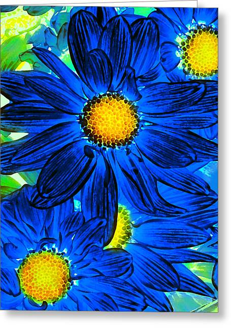 Pop Art Daisies 15 Greeting Card by Amy Vangsgard