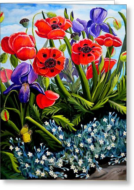 Poppies And Irises Greeting Card