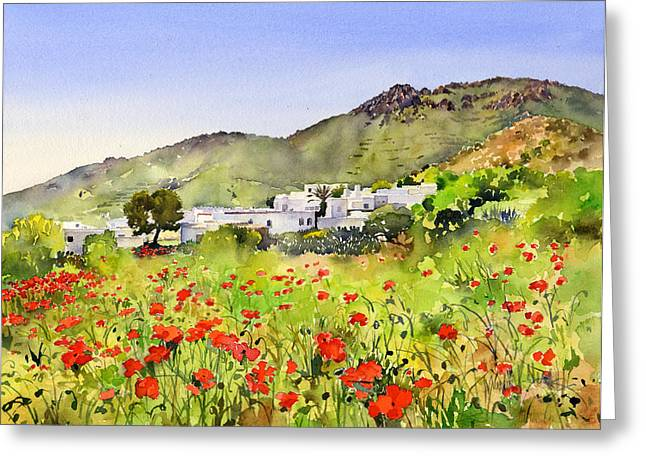 Poppies At Las Hortichuelas Greeting Card by Margaret Merry