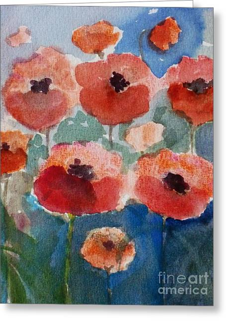 Poppies In June Greeting Card by Trilby Cole