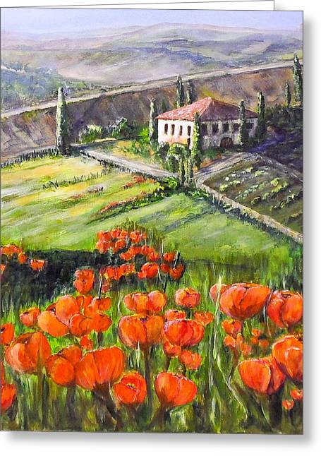 Poppies In Tuscany Greeting Card by Maureen Pisano