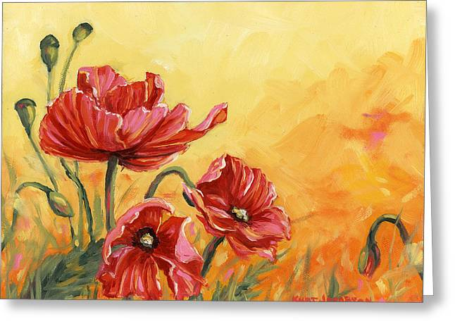Greeting Card featuring the painting Poppies by Kurt Jacobson