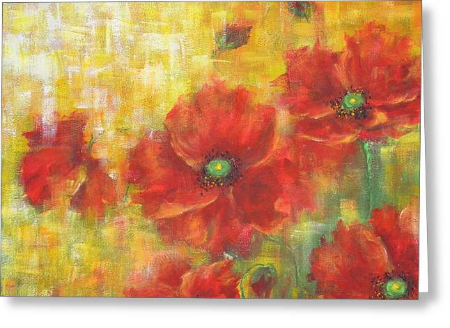 Poppies On A Sunny Day Greeting Card by Kathleen Pio
