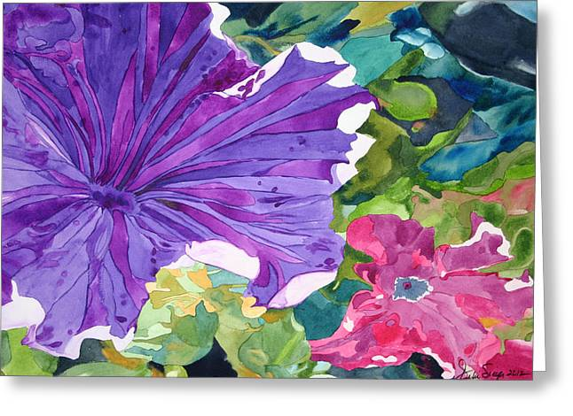 Popping Petunias Greeting Card
