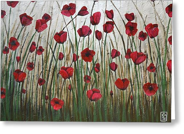 Poppy Field Greeting Card by Holly Donohoe