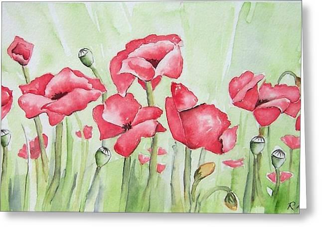 Poppy Field Greeting Card by Regina Ammerman