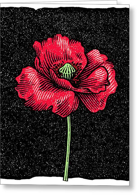 Poppy Flower, Woodcut Greeting Card