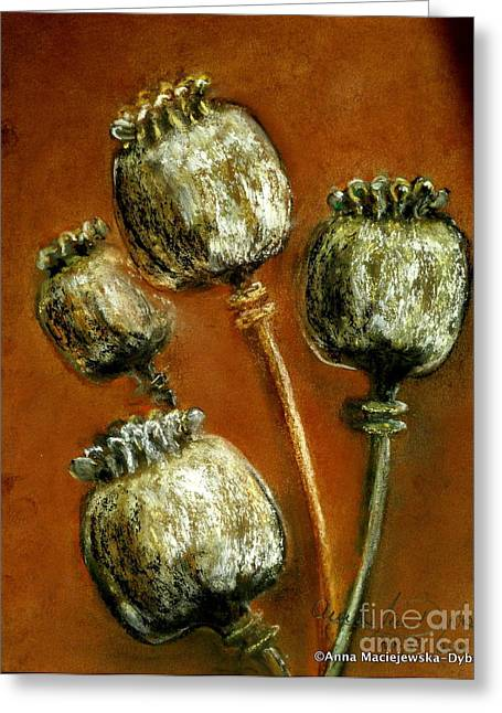 Poppy Seed Heads Greeting Card by Anna Folkartanna Maciejewska-Dyba