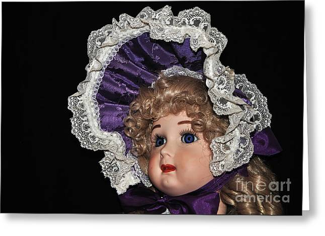 Porcelain Doll - Head And Bonnet Greeting Card by Kaye Menner