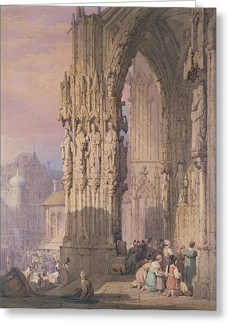 Porch Of Regensburg Cathedral Greeting Card by Samuel Prout