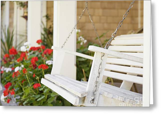 Porch Swing And Flowers Greeting Card