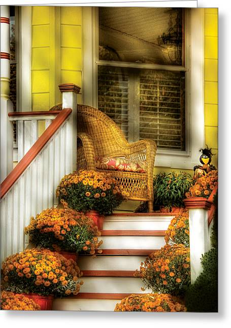 Porch - Westifeld Nj - In The Light Of Autumn Greeting Card by Mike Savad