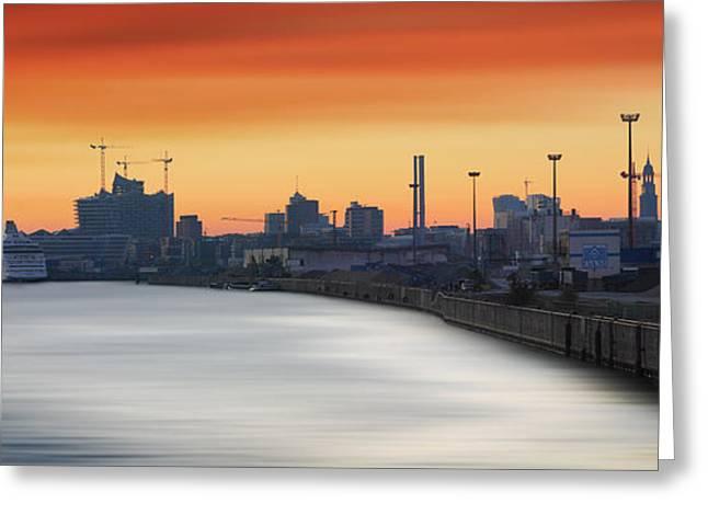 Port Of Hamburg Greeting Card by Marc Huebner