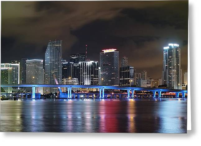 Port Of Miami Downtown Greeting Card