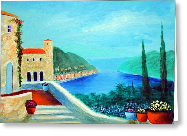 Portafino Pleasures Greeting Card by Larry Cirigliano
