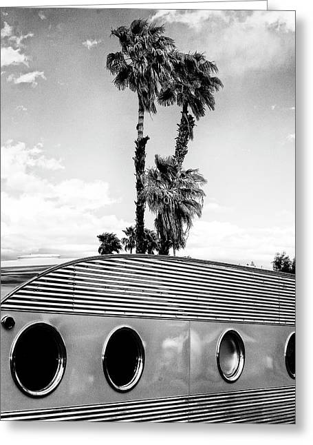 Portholes Bw Palm Springs Greeting Card by William Dey