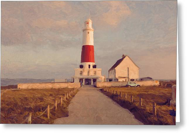 Portland Bill Lighthouse Center Greeting Card by Nop Briex