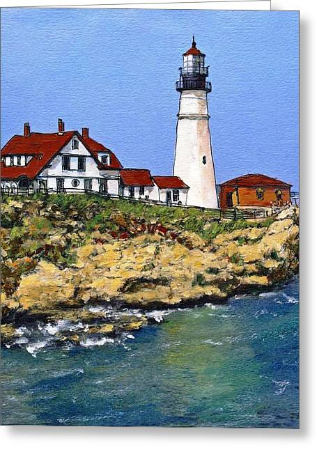 Portland Head Light House Greeting Card by Randy Sprout