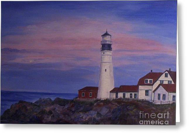 Greeting Card featuring the painting Portland Head Lighthouse At Dawn by Julie Brugh Riffey