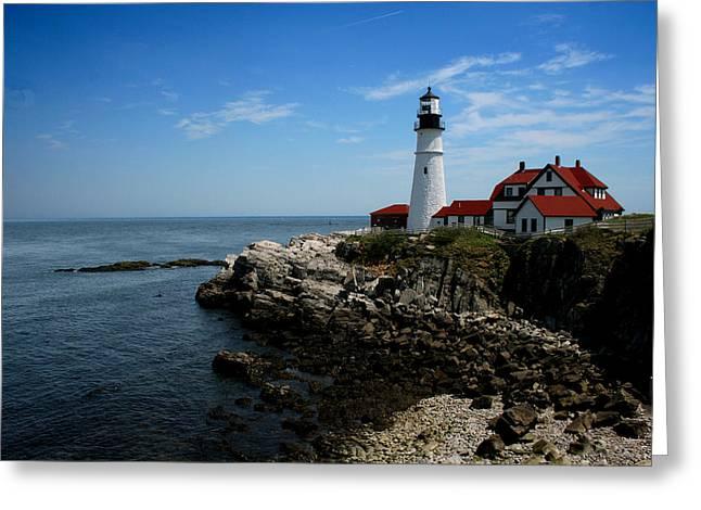 Portland Head Lighthouse Greeting Card by Heather Applegate