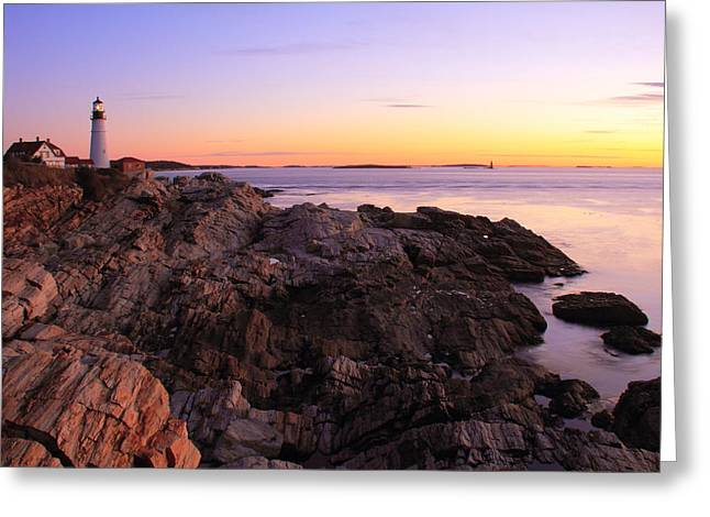 Portland Head Lighthouse Seascape Greeting Card by Roupen  Baker