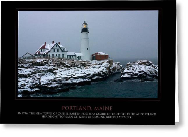 Portland Headlight Greeting Card by Jim McDonald Photography
