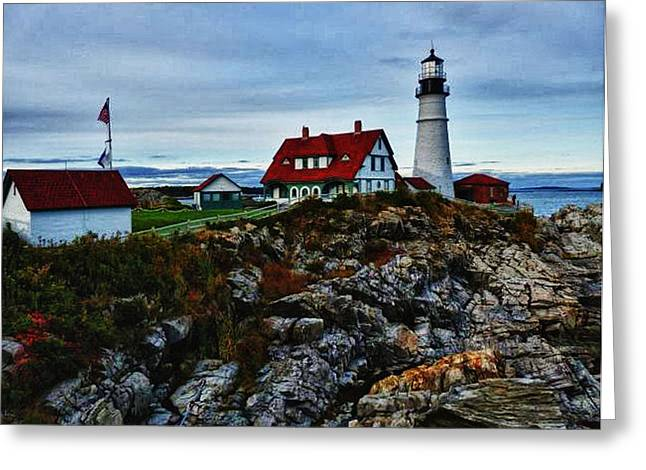 Greeting Card featuring the photograph Portland Lighthouse by Kelly Reber