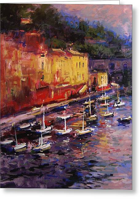 Portofino At Sundown Greeting Card by R W Goetting